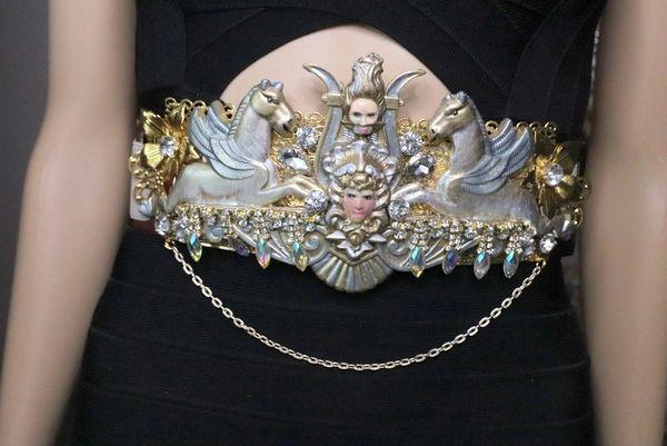 SOLD! 6744 Medieval Horses Medusa Embellished Waist Gold Belt Size S, L, M