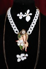 SOLD! 6745 Baroque Hand Painted Great Gatsby Hand Flowers Necklace