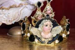 SOLD! 6748 Baroque Cherub Wings Black Rhinestones Crown Headband