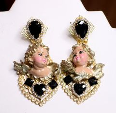SOLD! 6748 Baroque Vivid Cherubs Angels Black Rhinestone Studs Earrings