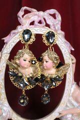 SOLD! 6749 Baroque Vivid Cherubs Angels Black Rhinestone Studs Earrings