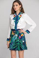 6753 Runway 2020 Tropical Print Parrots Mini Skirt+ Shirt Twinset
