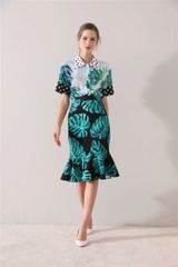 6757 Runway 2020 Tropical Leaf Polka Dot Print Mermaid Skirt+ Shirt Twinset
