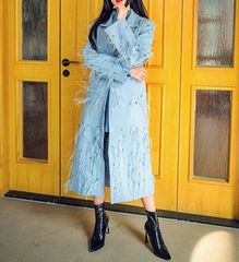 6758 Runway 2020 Feather Embroidery Elegant Grey Blue Trench Coat
