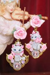 6761 Baroque I Love Cats Adorable Roses Irregular Studs Earrings