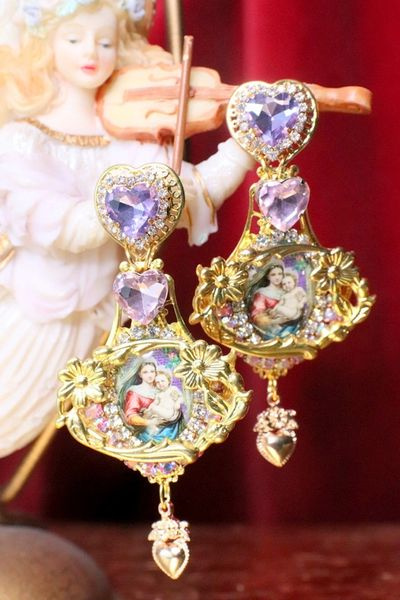 6762 Madonna And A Child Lavender Heart Studs Earrings