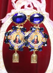 6763 Virgin Mary Dark Blue Rhinestones Stunning Studs Earrings