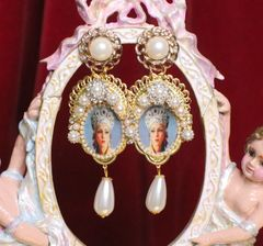 6764 Russian Revival Russian Beauty Kokoshnik Pearl Cameo Earrings
