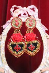 SOLD! 6767 Baroque Runway 2020 Sacred Heart Red Rose Massive Earrings