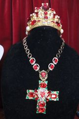6769 Alta Moda Red Cross Crystal Sacred Heart Stunning Huge Pendant Necklace