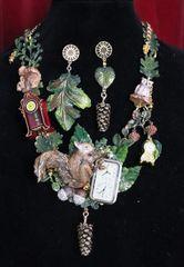 6770 Set Of Art Jewelry 3D Effect Squirrel Clock Oak Necklace+ Earrings