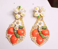 SOLD! 6772 Baroque Runway 2020 Orange Fruit Flower Blossom Massive Earrings