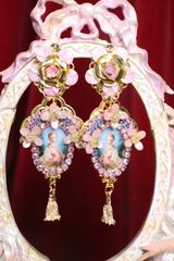 6774 Young Marie Antoinette Pink Flower Elegant Earrings