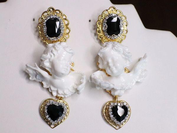 6775 Baroque White Chubby Cherubs Angels Black Crystal Earrings