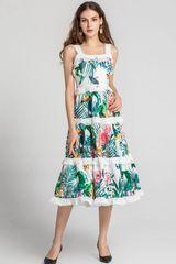 6776 Runway 2020 Tropical Print Layered Midi Dress
