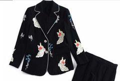 6779 Runway 2020 Peacock Embroidery Blazer+ Pants Twinset