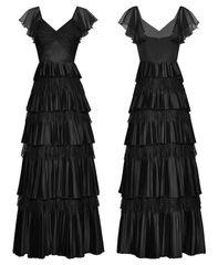6781 High-End Silk Runway 2020 Dramatic Lady-like Ruffle Black Maxi Dress