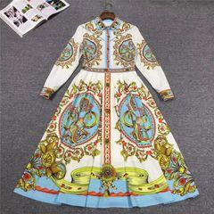 6783 Runway 2020 Folk Print White Mid Cuff Dress