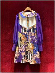 6784 Runway 2020 Pop Art Print Peter Pen Collar Purple Mini Dress