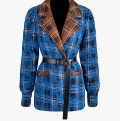 6786 2020 Wool Blend Check Blue Brown Oversize Coat- Blazer