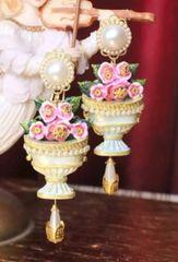 SOLD! 6789 Baroque 3D Effect Vase Roses Pearl Studs Earrings