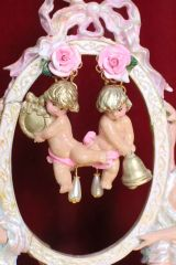 6793 Baroque Pale Pink Roses Musical Cherubs Red Ribbon Studs Earrings