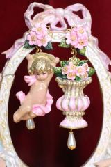 6794 Baroque Pale Pink Roses Musical Cherubs Vase Irregular Studs Earrings