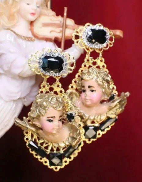 6788 Baroque Vivid Cherubs Angels Black Rhinestone Studs Earrings