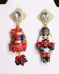 6795 Nutcracker Gold Red Irregular Hand Painted Earrings Studs