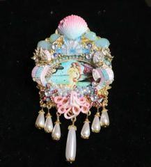 6801 Birth Of Venus Sea Horse Shell Octopus Huge Stunning Brooch