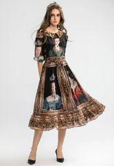 6752 Runway 2020 Queen Print Chiffon Vintage Mid Cuff Shirt-Dress