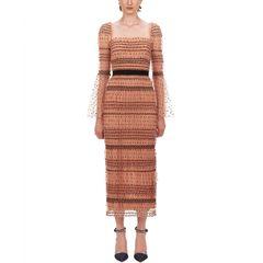 6806 Runway 2020 Polka Dot Sheer Bodycon Elegant Midi Dress