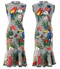 6807 Runway 2020 Lady-like Tropical Parrot Print Midi Dress