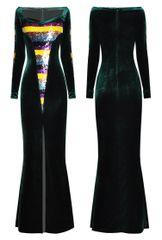 6808 Runway 2020 Lady-like Sequin Panels Velvet Gown Maxi Dress