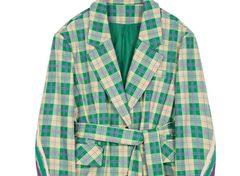 6809 2020 Check Green Lime Oversize Blazer