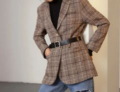6810 2020 Check Brown Oversize Blazer