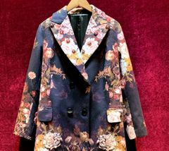 6811 2020 Wool Blend Baroque Floral Print Coat