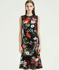 6813 Runway 2020 Lady-like Tropical Parrot Embroidery Midi Dress