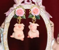 6815 Adorable Pigs 3D Effect Art Jewelry Earrings Studs