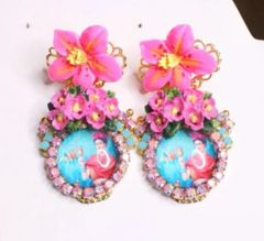 6819 Frida Kahlo Fuchsia Flower Cameo Studs Earrings
