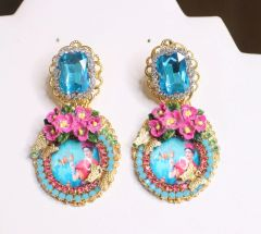 6820 Frida Kahlo Fuchsia Flower Aqua Rhinestone Cameo Studs Earrings