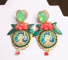 SOLD! 6821 Frida Kahlo Fuchsia Flower Green Rhinestone Cameo Studs Earrings