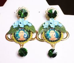 6822 Frida Kahlo Fuchsia Flower Green Rhinestone Cameo Studs Earrings