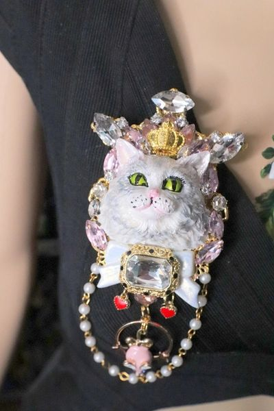 6824 Baroque Art Jewelry 3D Effect Lady-cat Mouse Brooch