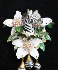 SOLD! 6825 Baroque 3D Effect Hand Painted Zebra Flower Huge Brooch