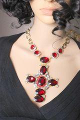 6926 Alta Moda Wine Red Cross Crystal Sacred Heart Stunning Huge Pendant Necklace
