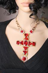 6827 Alta Moda Red Cross Crystal Sacred Heart Stunning Huge Pendant Necklace