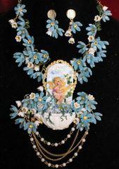 SOLD! 6830 Set Cherub Baroque Fountain Dangle Flowers Unique Necklace + Earrings