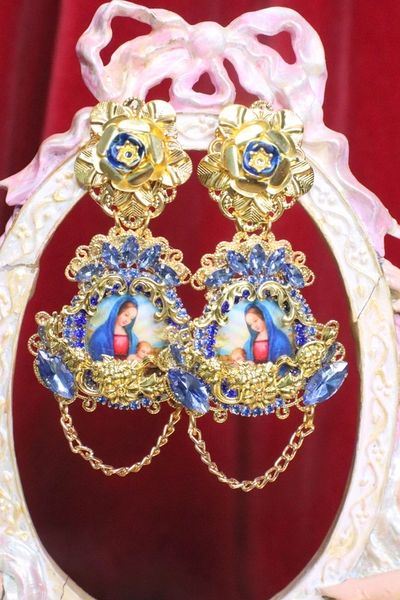 6831 Virgin Mary Dark Blue Rhinestones Stunning Studs Earrings