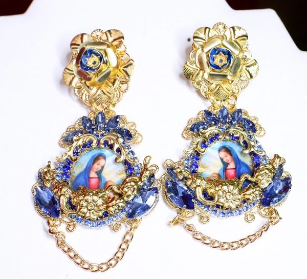 6831 Virgin Mary Dark Blue Rhinestones Stunning Studs Earrings